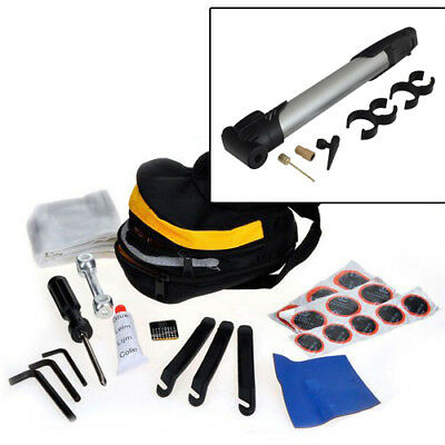 24Pc Bicycle Cycle Tool Kit Puncture Repair + Mini Bike Pump & Storage Pouch