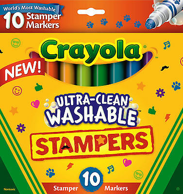 10PC Large Crayola Ultra-Clean Washable Bright Stamper Markers - Made in USA