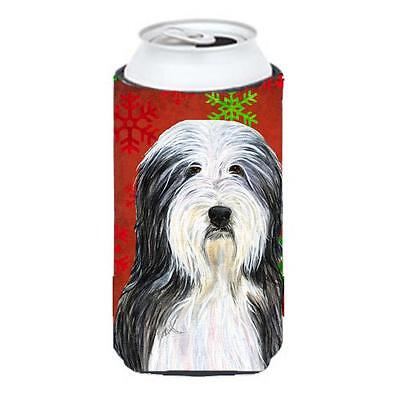 Bearded Collie Red And Green Snowflakes Holiday Christmas Tall Boy bottle sle...