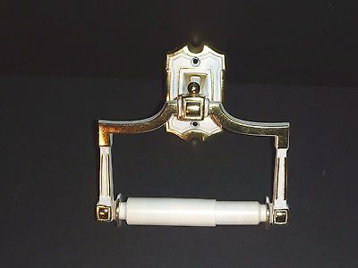 VIntage Gold White Metal Toilet Paper Holder Hollywood Regency