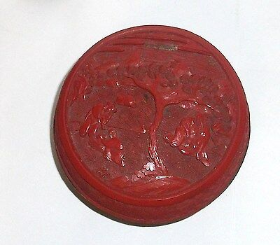 Old 19Th Century Chinese Floral Cinnabar Lacquer Jar Box