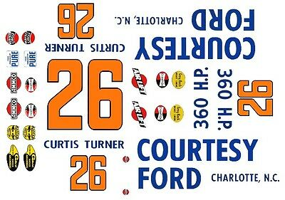 #26 Curtis Turner Courtesy Ford 1960 1/24th - 1/25th Scale Waterslide Decals