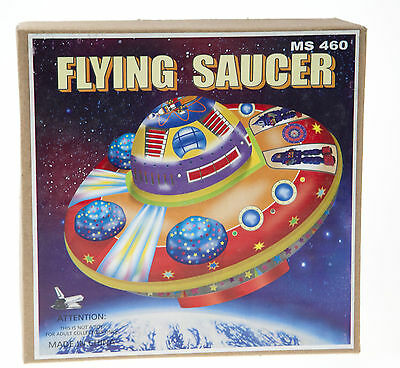 Classic  Tin Toy Space Flying Saucer With Mystery Action Clockwork Wind-Up