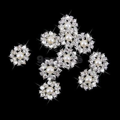 10 Stunning Flower Embellishment Pearl Crystal Shank Buttons Sewing DIY 22mm