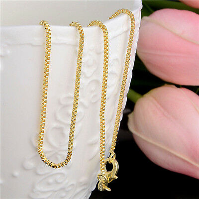 18K Gold Plated Nacklace Box Chain Women Men 20inches New Jewlery Wholesale
