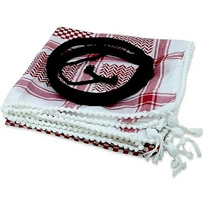 Authentic Arab red Shemagh Keffiyeh scarf with round Jordanian Ahakel - black