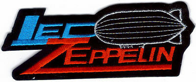 Led Zeppelin Silver Blimp Blue And Red Logo Embroidered Patch !