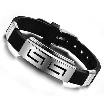 Mens Black Punk Rubber Stainless Steel Wristband Clasp Cuff Bangle Bracelet Gift