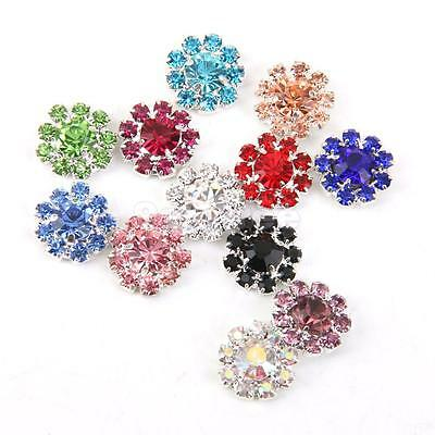 12 Multicolor 12mm Crystal Flower Beads Flatback Scrapbook Embellishment DIY