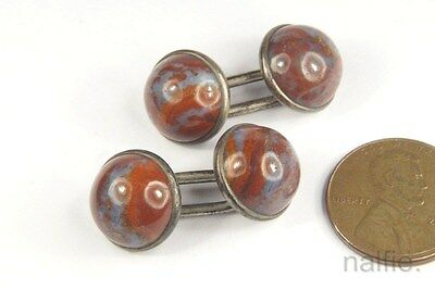 ANTIQUE VICTORIAN PERIOD ENGLISH SILVER JASPER / AGATE CUFFLINKS c1800s