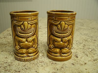 Set of 2 Vintage Brown Glazed Orchids of Hawaii Tiki Mugs Tumblers R-91 Japan