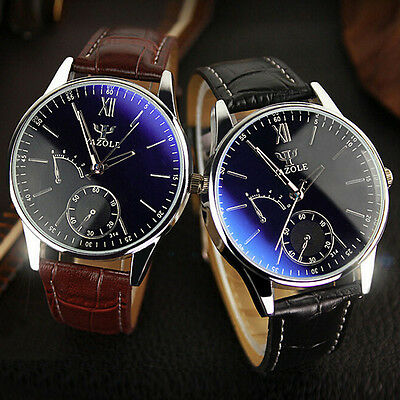 Herren Armbanduhr Luxury Faux Leder Uhr Blue Ray Glass Quartz Analog Men's Watch