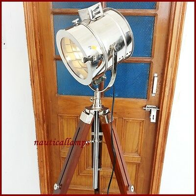 Wooden Tripod Lamp Antique Style Floor Searchlight Maritime Lamps