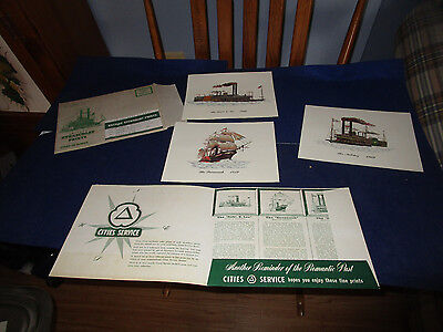 1950's Cities Service Antique Steamboat Ship Prints Set w/ Mailing Envelope