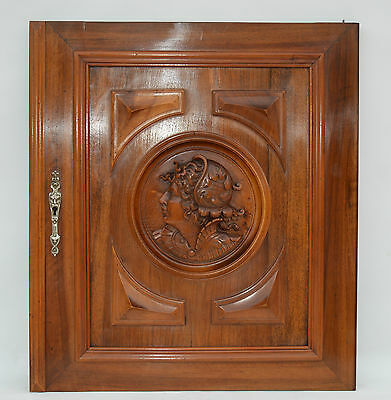Wooden Architectural Door Panel - French Antique Carved Walnut Door - Woman