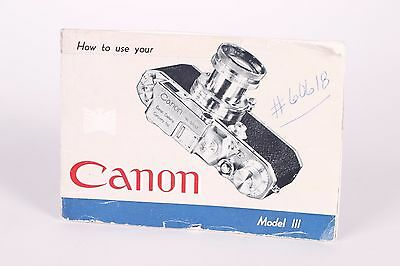 Original Canon Model III rangefinder instructions manual