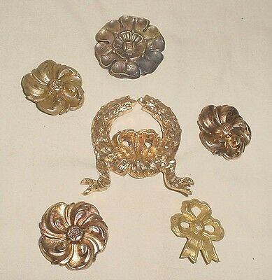 Antiq Gilt Bronze Lot 6 Decorative Furniture Flowers Bow Appliques Ornaments