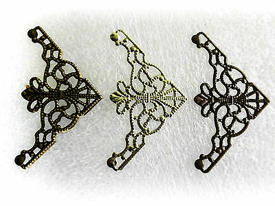 Jewelry Findings Filigree Triangle Wrap Connectors, 3 colours 48mmx26mm Qty 20