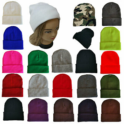Top Quality Knit Beanie Solid Color Cuff Stretch Hat Men Women Warm FashionSolid