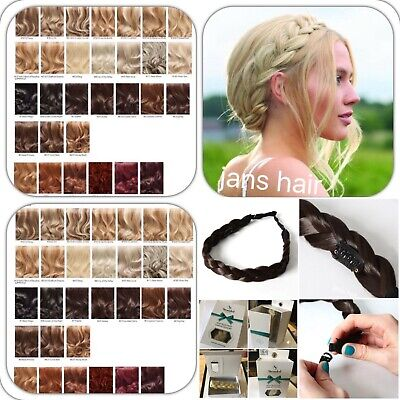 Stranded Hair Plait Chunky Clipped Braid Hairband Various Colours