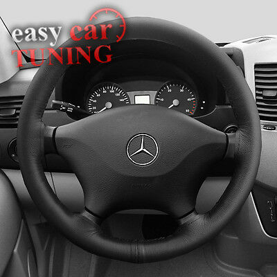 For Mercedes Viano W639 2003-2014 Black Genuine Leather Steering Wheel Cover