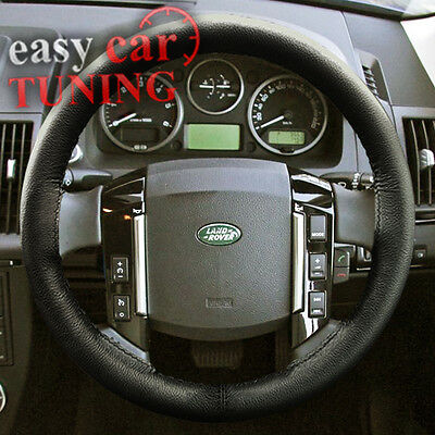 Fits Land Rover Freelander 2 Black Real Genuine Leather Steering Wheel Cover 06