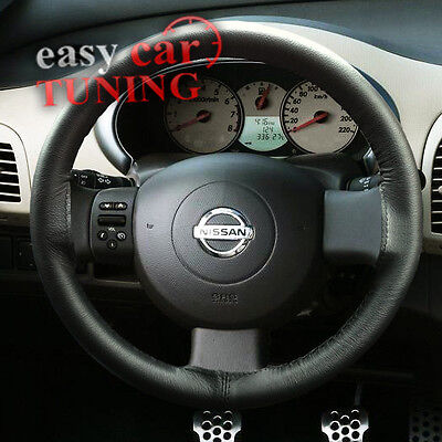 Fits Nissan Micra K12 2002-2010 Black Real Genuine Leather Steering Wheel Cover