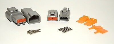 2 x Deutsch DTM Series 3-Pin Connector Kit 20AWG Solid Contacts, Fast Shipping
