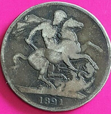 Antique 1821 British Silver Crown Coin   Rare King George IV History St. George
