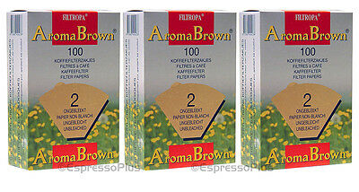Filtropa Aroma Brown Coffee Filters #2 - 300 Count / 3 Boxes of 100 Filters