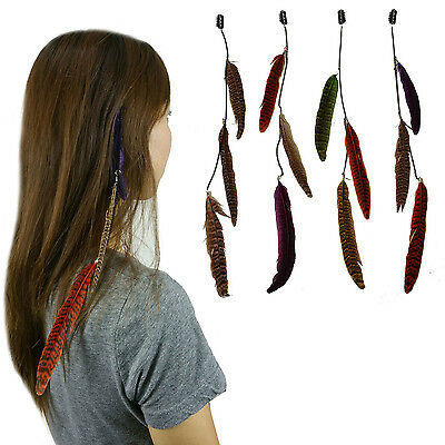 4 pcs set Long  Feather & Chain Hair Extension w/ Clip On Comb Fashion Accessory