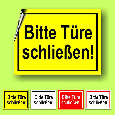 bitte t re schlie en aufkleber schild hinweis verbotsschild sticker nr 3008 eur 2 75. Black Bedroom Furniture Sets. Home Design Ideas