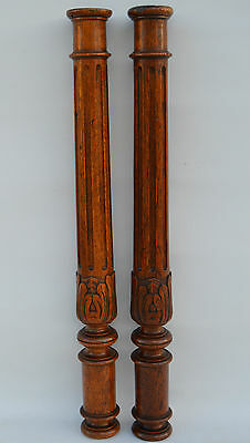French Twisted & Carved Oak Wood Posts Pillars Architectural Columns - Spiral