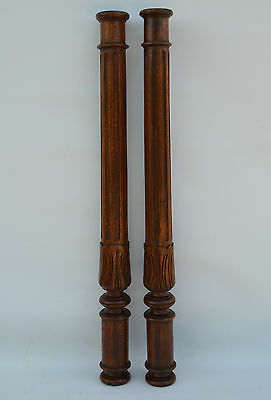 French Pair Twisted & Carved Oak Wood Posts Pillars Architectural Columns