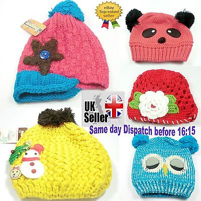 Childrens Woolen Hats Handmade Girls Boys Crochet Baby Hats suitable to 5yrs