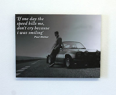 "Paul Walker Black & White Canvas Print 24"" x 18"""
