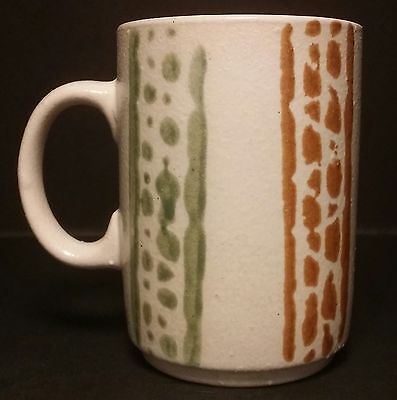 Vintage Retro Textured Design Collectable Green Brown & Tan Mug - Made In Japan
