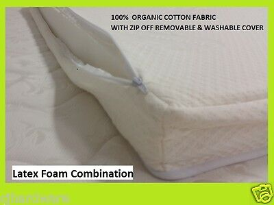 *SALE* ORGANIC COTTON BABY COT MATTRESS LATEX&FOAM 77cmx130cm ZIP OFF WASH COVER