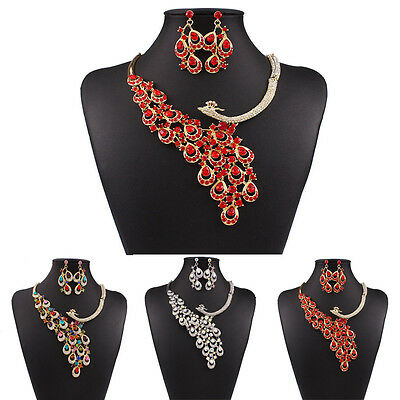 Colorful Rhinestone Crystal Earrings Necklace Set Bridal Wedding Party Gift