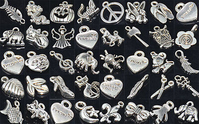 Wholesale 100pcs Bulk Lots Tibetan Silver Mix Pendants Charms