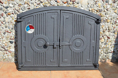 480 x 380mm +Thermometer  Cast iron fire door clay / bread oven / pizza stove