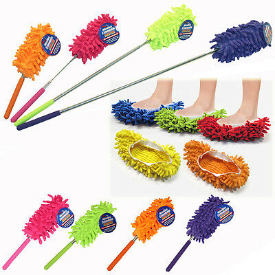 Microfibre Telescopic Duster Slippers Mop Dust Remover Cleaning Floor Polishers