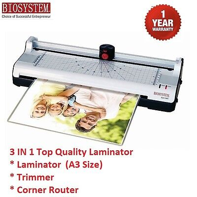 A3 Laminator Trimmer Corner Router Paper Photo 3 in 1 Free 20 A4 Laminating Film
