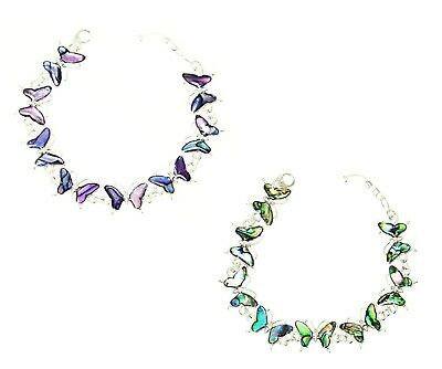 Natural Abalone Paua Shell Butterfly Silver Colour Bracelet Gift for Her Bangle