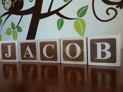 Wood Name Baby Building Blocks Personalised: Unique wooden childs gift