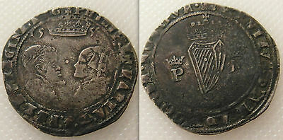 Collectable Ireland Philip & Mary hammered silver groat Coin / Dates 1555.