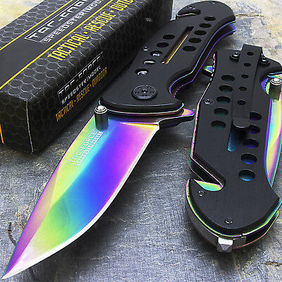"10 x 8"" TAC FORCE RAINBOW SPRING ASSISTED FOLDING POCKET KNIFE Wholesale Lot"