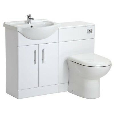 High Gloss White Bathroom Vanity Cabinet Unit & Back to Wall Toilet Furniture