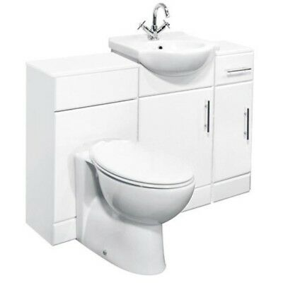 1200mm High Gloss White Bathroom Vanity, Basin, Cupboard & Toilet Furniture