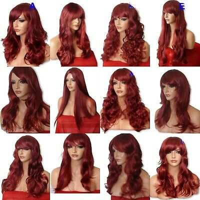 BURGUNDY Wig Long Curly Straight Wavy Womens Party Fancy Dress Ladies Full Wig